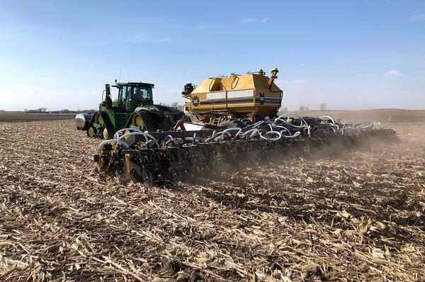 SoilWarrior 5000 strip tillage and nutrient placement system in corn residue