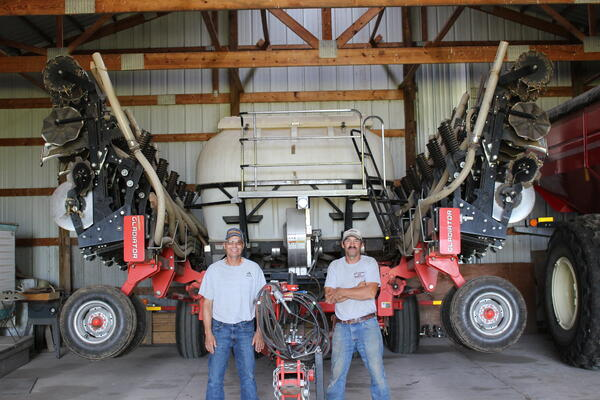 Brothers Dave and Mark Morris with their Kuhn Gladiator